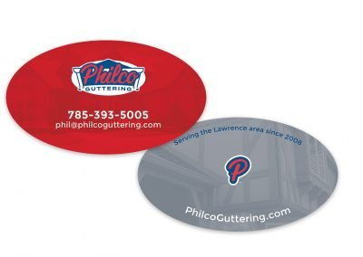 Oval die cut business cards